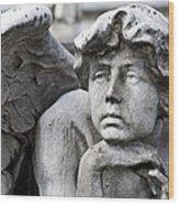 Pensive Angel Detail Monumental Cemetery Milan Italy Wood Print