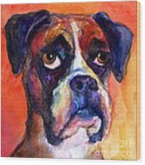 pensive Boxer Dog pop art painting Wood Print