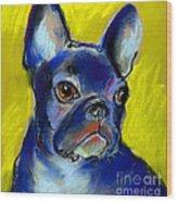 Pensive French Bulldog Portrait Wood Print by Svetlana Novikova