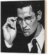 Pensive Man With Glasses Wood Print by Artistic Photos