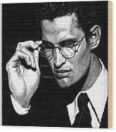 Pensive Man With Glasses Wood Print