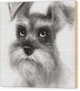 Pensive Schnauzer Dog Painting Wood Print