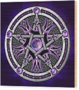 Pentacle Of The Purple Moon Wood Print