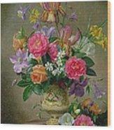Peonies And Irises In A Ceramic Vase Wood Print