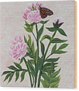 Peonies And Monarch Butterfly Wood Print