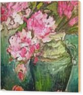 Peonies And Peaches Wood Print