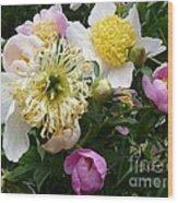 Peonies Bouquet Wood Print