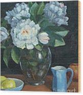 Peonies In Glass Vase Wood Print