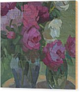 Peonies In The Shade Wood Print