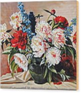 Peonies In Vase Wood Print