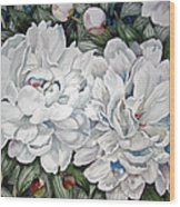 Peonies Love Ants Wood Print