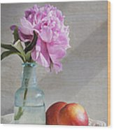Peony Blue Bottle And Nectarine Wood Print