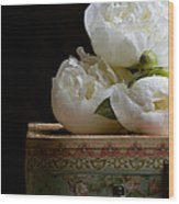 Peony Flowers On Old Hat Box Wood Print