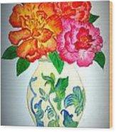 Peonys In Vase Wood Print