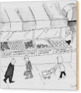 People Are Seen Walking Past A Produce Stand Wood Print