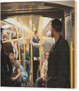 People Commuting Vienna Metro Wood Print
