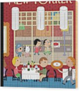 People Enjoying Dinner In The City Wood Print