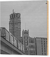 People Mover Downtown Detroit Wood Print