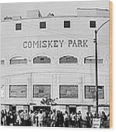 People Outside A Baseball Park, Old Wood Print