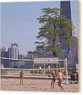 People Playing Beach Volleyball Wood Print