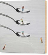 People Playing Golf On Spoons Little People On Food Wood Print by Paul Ge