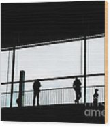 People Silhouettes In Airport Wood Print