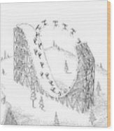 People Ski On A Circular Ski Ramp That Resembles Wood Print