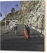People Walking On The Path Leading To Shrine Of Vaishno Devi Wood Print