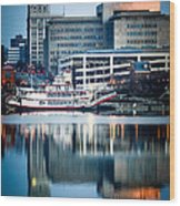 Peoria Illinois Cityscape And Riverboat Wood Print