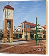 Peoria Illinois Riverfront Businesses And Clock Tower Wood Print