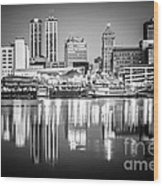 Peoria Illinois Skyline At Night In Black And White Wood Print
