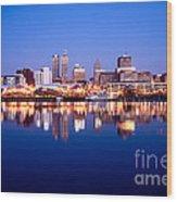 Peoria Illinois Skyline At Night Wood Print by Paul Velgos