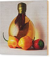Peppers And Oil Wood Print