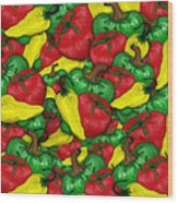 Peppers And Tomatos Wood Print