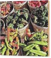 Peppers By The Bushel Wood Print