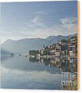 Perast Village In The Bay Of Kotor In Montenegro  Wood Print