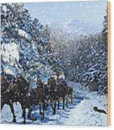 Percheron Team In Snow Wood Print by Ric Soulen