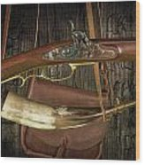 Percussion Cap And Ball Rifle With Powder Horn And Possibles Bag Wood Print