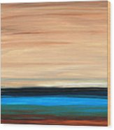 Perfect Calm - Abstract Earth Tone Landscape Blue Wood Print by Sharon Cummings