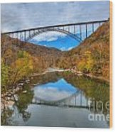 Perfect Reflections Of The New River Gorge Bridge Wood Print