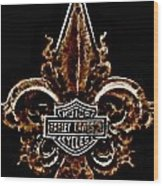 Perforated Brown Fleurs De Lys With Harley Davidson Logo  Wood Print