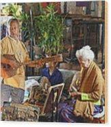Performers - Night Street Market - Chiang Mai Thailand - 01134 Wood Print