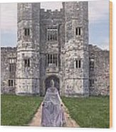 Period Lady In Front Of A Castle Wood Print