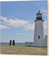 Pemaquid Lighthouse Visitors Wood Print