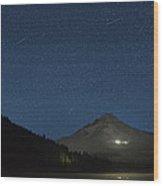 Perseid Meteor Shower At Trillium Lake 2013 Wood Print