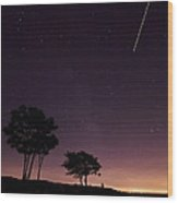 Perseids Meteor Over Sasco Hill Wood Print