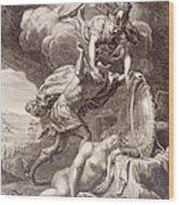 Perseus Cuts Off Medusa's Head Wood Print by Bernard Picart