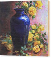 Persian Cobalt - Yellow Roses In Cobalt Vase Wood Print