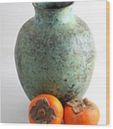 Persimmon With Vase Wood Print