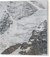 Person Cheering On A Glacier Wood Print